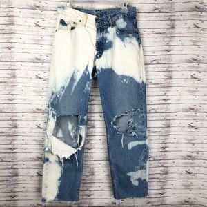 Levi's Ripped Destroyed Bleached Wide Leg Jeans